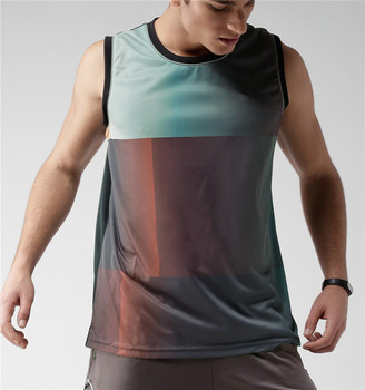 Men 100% polyester Printed Singlet Tank Top Sleeveless T-shirt Sublimation Vest