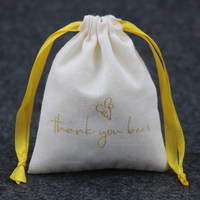 Custom drawstring cotton muslin bag for jewelry with gold logo print