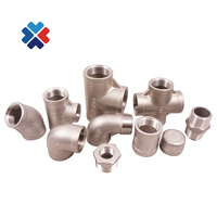 DN15 Female Thread BSPT Pipe Fitting three Way Stainless Steel SS304 Cross Type Coupling Pipe Connector