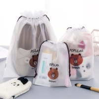 2019 Cute Cartoon Brown Bear Transparent Gift Cosmetic Bag Women Zipper Travel Bag Bath Waterproof Organizer Storage Pouch