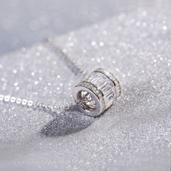 wedding fashion jewelry necklace S925 sterling silver cylindrical zircon necklace Top quality fashion bride jewelry