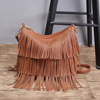 2019 china supplier top Sales Women's PU Leather Hobo Fringe Crossbody double tassels bags Vintage Big Handbag