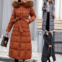 Women Big Fur Winter Coat Thickened Parka Women Stitching Slim Long Winter Coat Down Cotton Ladies Down Parka Jacket
