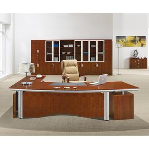 traditional commercial furniture L shape desk project office executive  table with leather pad on table top