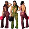 B32308A 2019 European Jumpsuits For Women Club Wear LEOPARD PRINT Women Jumpsuits
