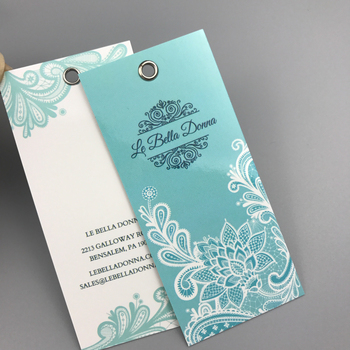 New Design Custom Garment Embossed Logo Cardstock Hang Tag with string