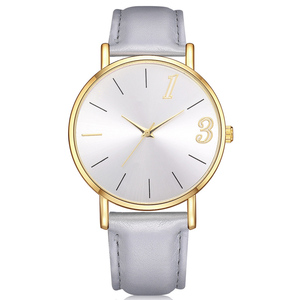 WJ-8303 Simplest Cheap Hot Sale Leather Strap Decorate Women Watch Minimalist Fashon Charming Ladies Dress Watch
