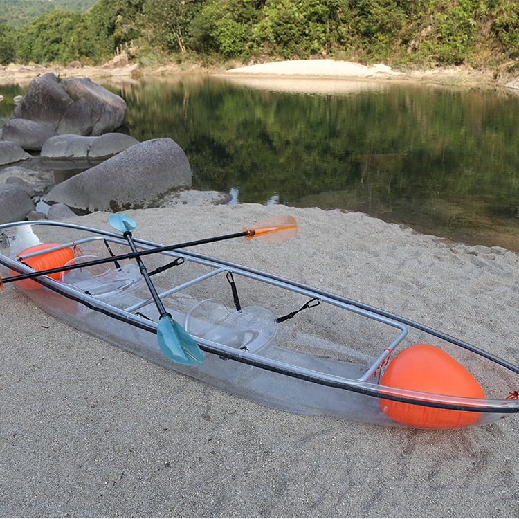 Durable 2 Person PC Polycarbonate Transparent Clear Kayak <strong>Boat</strong> with Aluminum frame for Water Games