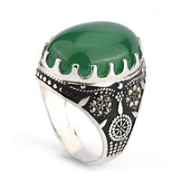 925 sterling silver men ring white gold plated natural one big green agate stone ring designs