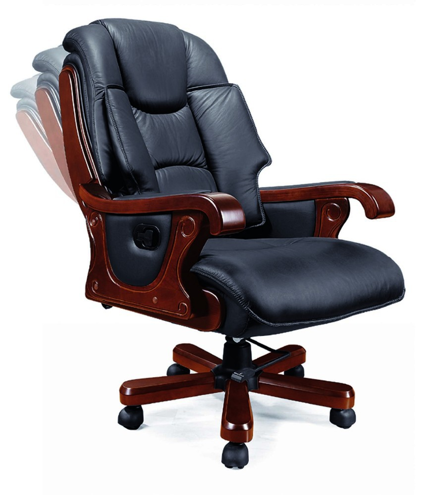 Wooden Furniture Luxurious High Genuine Leather Recliner Office Chair Buy L