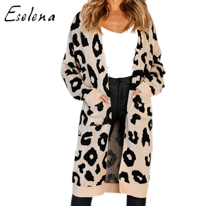 Winter Women Leopard Long warm Cardigan for Christmas Sweater mujer Knitted Pockets Maxi Casual cardigan Coat