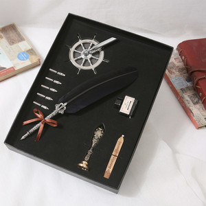 Metal Advertising Gift Quill Ballpoint Fountain Ink Pen Set