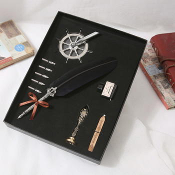 Metal Advertising Gift Quill Ballpoint Fountain Ink Pen Set gift pen set