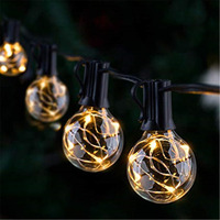 Merry Christmas Cheer Decoration China LED Warm White G40 Globe Copper Wire Backyard Patio String Light Set Black wire