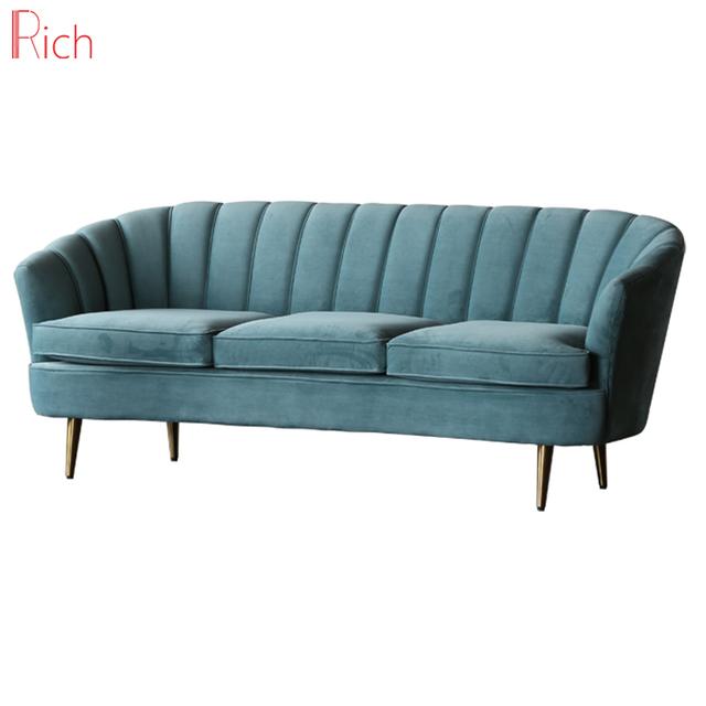 Modern Sky Blue Velvet Sleeper Couch