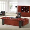 wooden walnut veneer government office manager staff straight single executive office desk with side cabinet and drawers
