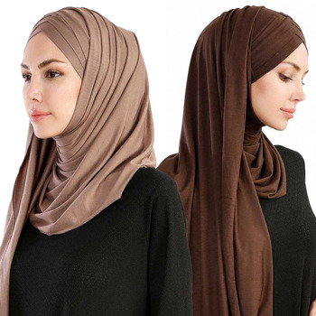 Wholesale fashion dubai cotton jersey hijab easy to wear muslim fashionable solid color scarf women hijab instant shawls
