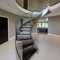 Simple Indoor Wrought Iron Curved Stairs Design
