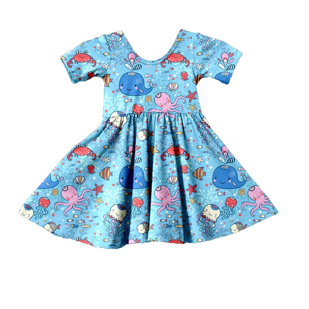 Print on demand Print <strong>Girls</strong> marine life dresses wholesale fashion <strong>design</strong> <strong>girl</strong> dress cotton dresses for <strong>girl</strong>
