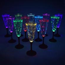 Glowing Champagner Glas LED Blinkt Tasse Abnehmbare Waschbar Glas Multi Farben LEDs