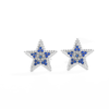 High Quality 925 Sterling Silver Earrings White CZ Blue Eye Star Stud Earring for Fashion Women Daily Party Silver Jewelry
