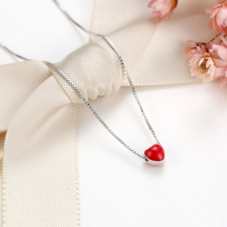<strong>Cheap</strong> Price Fashion Promotion Gift Real 925 Silver Snake Chain <strong>Necklace</strong> Girls <strong>Cute</strong> Small Red Enamel Heart Dainty <strong>Necklace</strong>