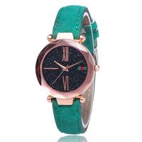 2019 Best Sell Fashion Ladies Bracelet Leather Watches Star Sky Dial Clock Luxury Rose Gold Women Quartz Wrist Watch LW114
