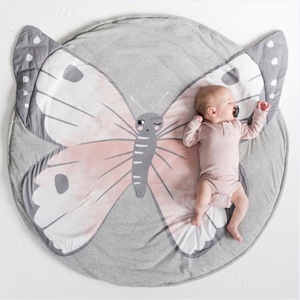 Precio de fábrica, alfombrillas para juegos infantiles, alfombra para gatear para niños, alfombra para el suelo con diseño de mariposa, manta para cama, alfombrilla para juegos de algodón para gatear bebés