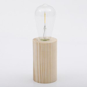 Hot selling wood battery decoration table edison bulb lamp