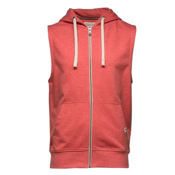 custom made sports apparel 100% cotton sleeveless hoodies with zipper