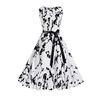 Vintage Boat Neck Prints Belted Sleeveless High Waist Evening Party Rockabilly Clubbing Boutique Wedding Dresses Under 100