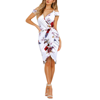 2019 Fashion Ultra Cheap Summer Strapless shoulder White Women Flower Dress