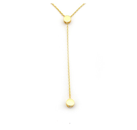 14k Yellow Gold Small Delicate Circle Lariat Y Necklace Tiny Disc Name Necklace