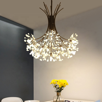 LED Crystal pendant lamp art deco light fixtures decorative metal flower chandelier for home ETL89100