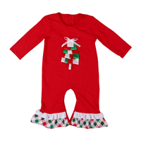 boutique festival diamond lattice printed red kids' jumpsuit with bow long sleeves children girls' clothing