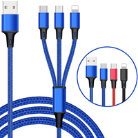 Custom Gift Logo 1.2m 5V/2.4A Nylon Braided Multi Charger 3 in 1 Usb Data Cables For iphone/android/type c