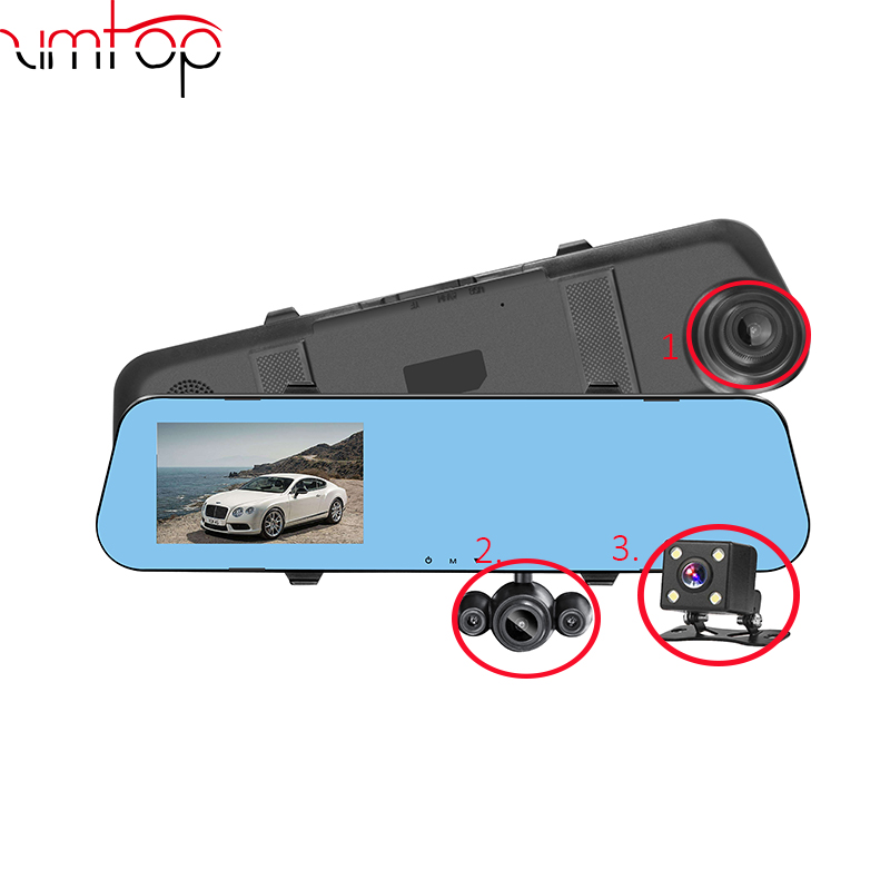 1080P 4.3inch 3 lens camera car in and out loop recording rearview mirror dash cam car dvr camera