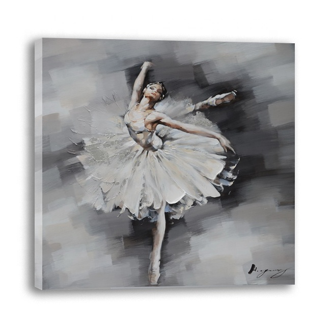 Moderne abstracte ballerina olieverf grijs zwart en wit abstract dance girl wall art