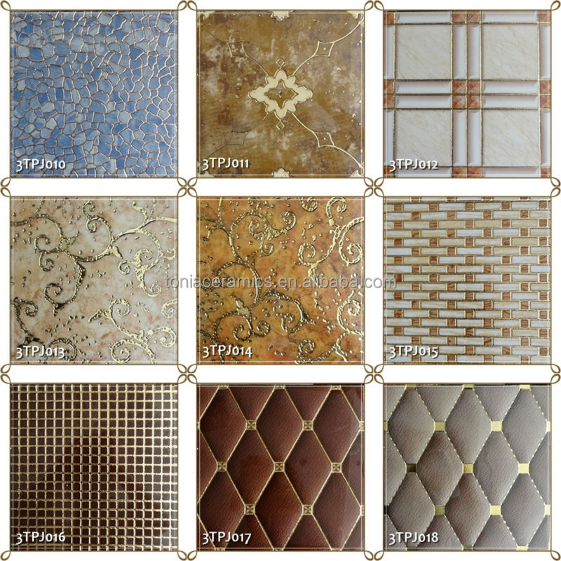 Superior TONIA 300x300 Checker Design Polished Golden Decorative Ceramic Wall Tile