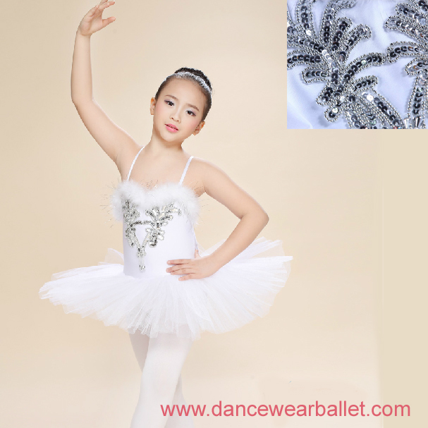 Children Fairy Princess Swan Lake Feather Sequin Dance Ballet Costumes Tutu  1 ... ed612fa46852