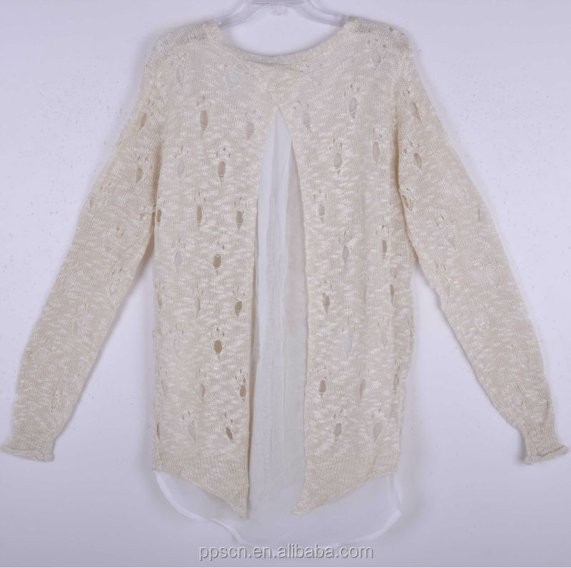 2015 new arrival high quality knit chiffion switch wool handmade sweater  design for girl,latest