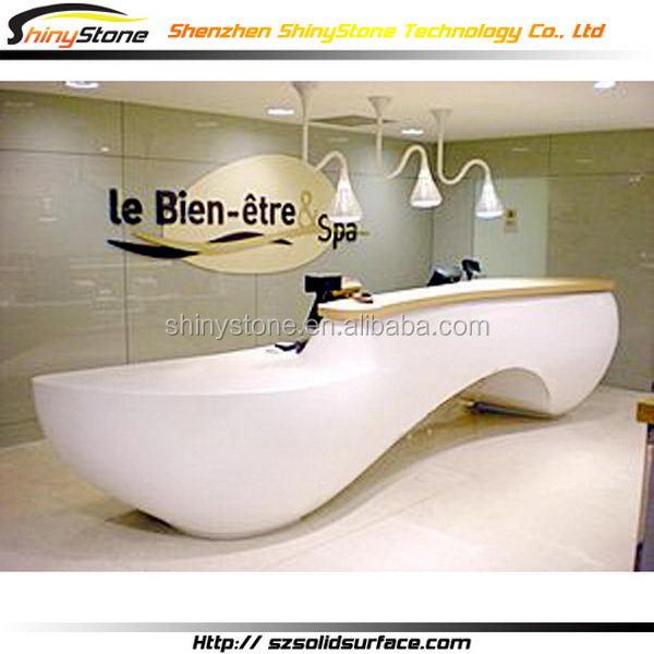 Stylish Semi Circle White Cultured Marble Reception Desk