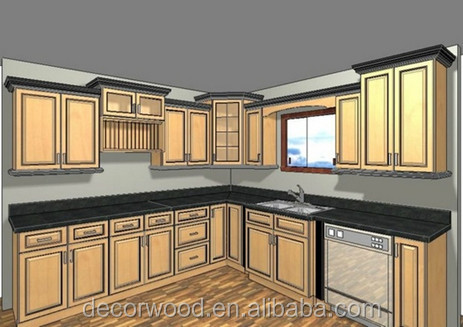 Crown Molding Raised Panel Frame-less Rta Solid Wood Kitchen ...