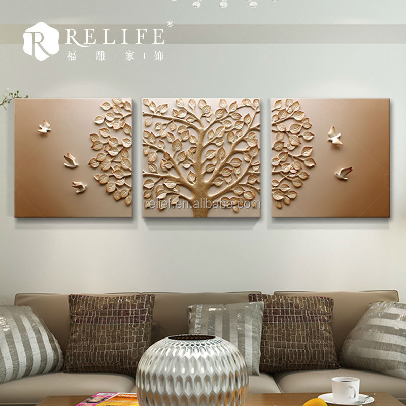 Resin relief art flower painting buy glass flower wall for Decor mural metal
