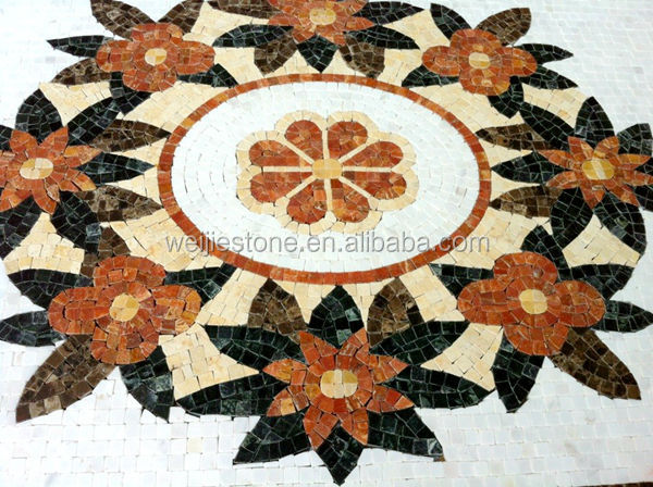 modern flower pattern mosaic tile pictures pattern,stone mosaic