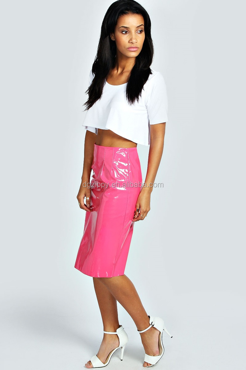 2014 Fashion Pink Patent Long Leather Skirt For Girl - Buy Long ...