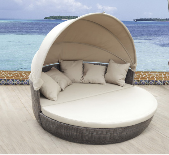 Pool Furniture With Canopy Waterproof Sun Bed Round Rattan