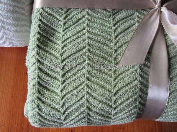 50da52 100%cotton 100%acrylic Herringbone Knit Blanket Throw Knit ...