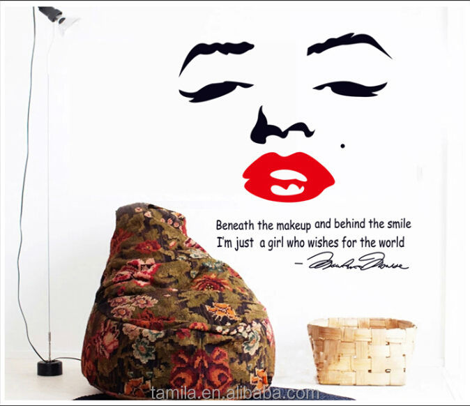 Marilyn Monroe Face Red Lip Inspirational Quotes Wall Stickers Livingroom  Bedroom TV Backgroud Wall Decals Part 68