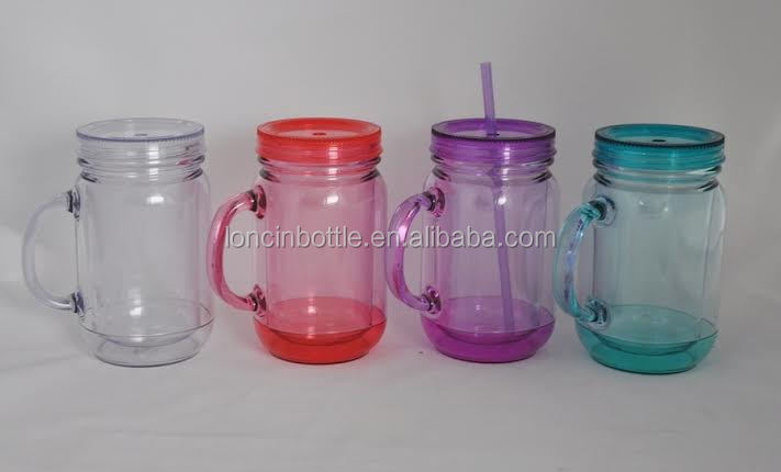 double wall plastic mason drinking jar mason jar with metal cap plastic drinking